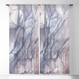 Slate Purple and Sparkle Flowing Abstract Sheer Curtain