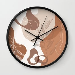 Abstract - Terracotta, Tan and Beige Shapes, Lines and Leaves Wall Clock