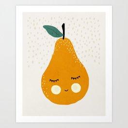 Pear fruit, Mid century modern kids wall art, Nursery room Art Print