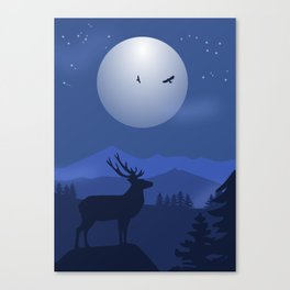 Mystical Night in the Mountains Canvas Print