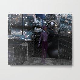 Alien City at Night Metal Print