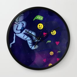 Astronaut in Space On Internet Using Social Media Wall Clock