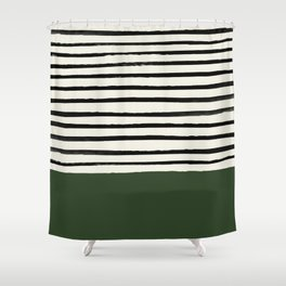 Forest Green x Stripes Shower Curtain