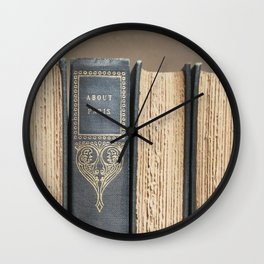 Antique Book About Paris Wall Clock