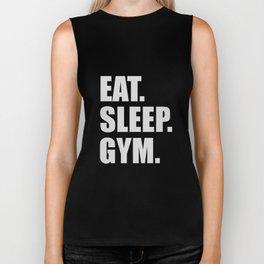 Eat sleep gym quote Biker Tank