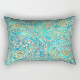 Sapphire & Jade Stained Glass Mandalas Rectangular Pillow