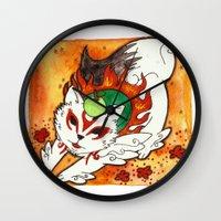 okami Wall Clocks featuring Amaterasu from Okami 03 by Jazmine Phillips