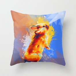 Colors of Fluff - Bunny portrait Throw Pillow