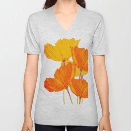 Orange and Yellow Poppies On A White Background #decor #society6 #buyart Unisex V-Neck