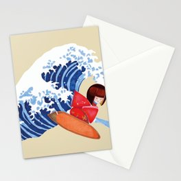 Kokeshi surfs on Hokusai wave of Kanagawa funny design Stationery Cards