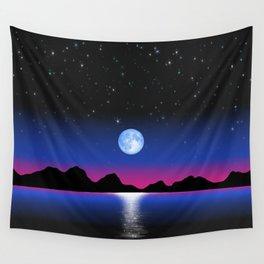 Moon Horizon 102 Black Sky Wall Tapestry