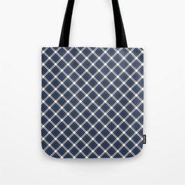 Navy Blue, White, and Black Diagonal Plaid Pattern Tote Bag