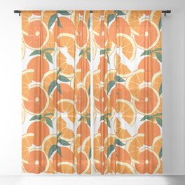 Orange Harvest - White Sheer Curtain