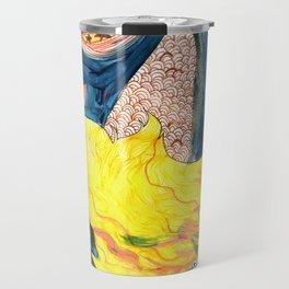 gold, Yellow and blue mermaid Travel Mug