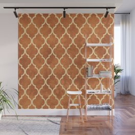 Classic Quatrefoil Lattice Pattern 912 Beige and Ochre Wall Mural