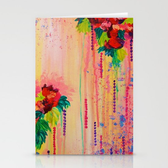 STRAWBERRY CONFETTI PAINTING Abstract Acrylic Floral Beautiful Feminine Flower Bouquet Girlie Pink Stationery Cards