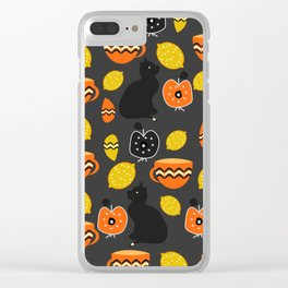 Cats, lemons and teacups Clear iPhone Case