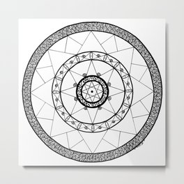 Zen Star Mandala - White Black - Square Metal Print