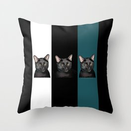 Three Black Cats with a White/Black/Green Background Throw Pillow