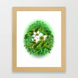 Passion Flowers on Tropical Jungle Framed Art Print