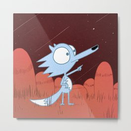 Little Blue Fox Metal Print