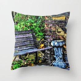 Bench Garden Throw Pillow