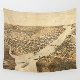 Vintage Pictorial Map of Green Bay WI (1867) Wall Tapestry