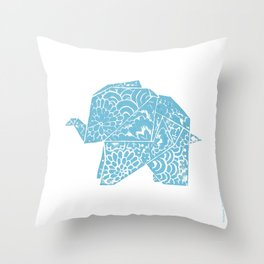 The Elephant - Origami Style and japanese pattern Throw Pillow