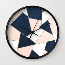 Navy Blue Blush White Gold Geometric Glam #1 #geo #decor #art #society6 Wall Clock