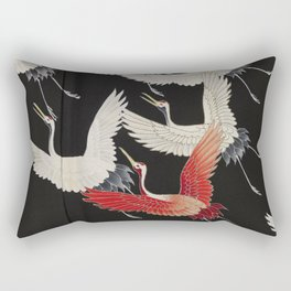 Furisode with a Myriad of Flying Cranes (Japan) Rectangular Pillow