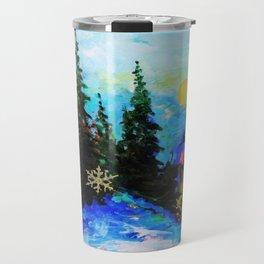 Blue Snowy Mountain Scenic Landscape Travel Mug