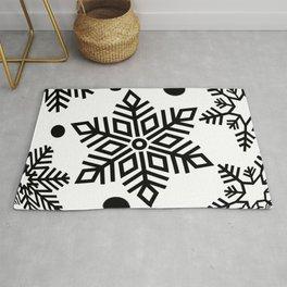 Snow Flakes Christmas Bauble - Black & White Rug
