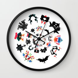 circle of Rorschach test Ink blots ! Wall Clock