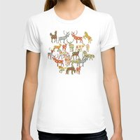 ikat T-shirts featuring deer horse ikat party by Sharon Turner