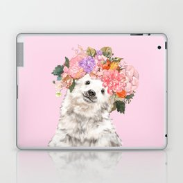 Baby Polar Bear with Flowers Crown Laptop & iPad Skin