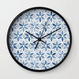 Indigo Retro Flower Wall Clock