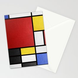 Mondrian in a Leather-Style Stationery Cards