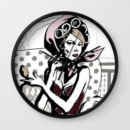 Pretty in maroon dress Wall Clock