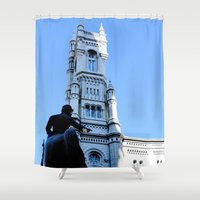 philadelphia Shower Curtains featuring Onward (Philadelphia) by Julie Maxwell
