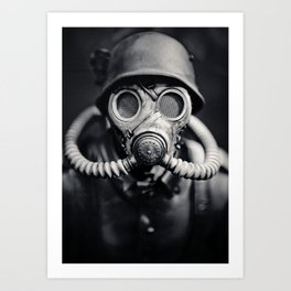 German Solider in a Gas Mask from World War II Art Print