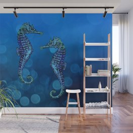 Sea Horse Couple In Deep Blue Water Wall Mural