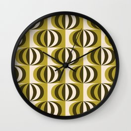 Mid century black & white striped ovals pattern olive green Wall Clock