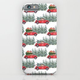 Corgis in car in winter forest iPhone Case