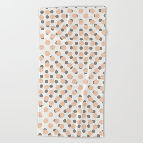 Black & Pink Polka Dots Beach Towel