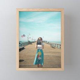 Camera Girl on the California Coast - Holga Photo Framed Mini Art Print