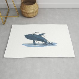 Whale jumps in the sea Rug