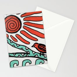 Bird sun and waves Stationery Cards