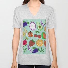 Cute Fruit Pattern Bright Happy Kawaii Unisex V-Neck