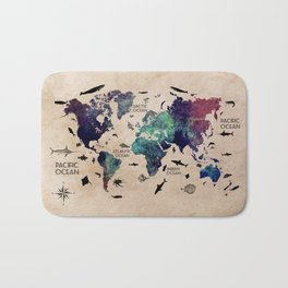 Oceans Life World Map #map #worldmap Bath Mat