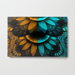 Turquoise and Orange Fractal Feather Plumage Metal Print